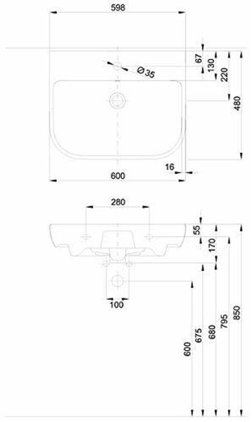 Umywalka 60 cm Koło Traffic rysunek techniczny