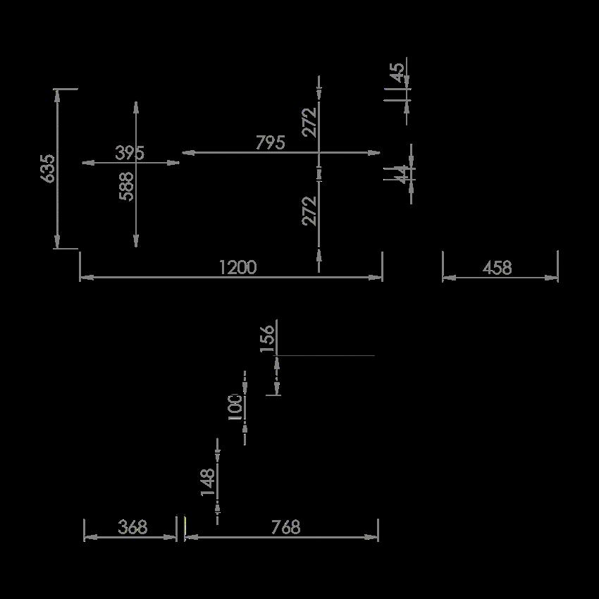 Szafka podumywalkowa 120 cm Elita Split (80 2S P + Kosz Cargo L) rysunek