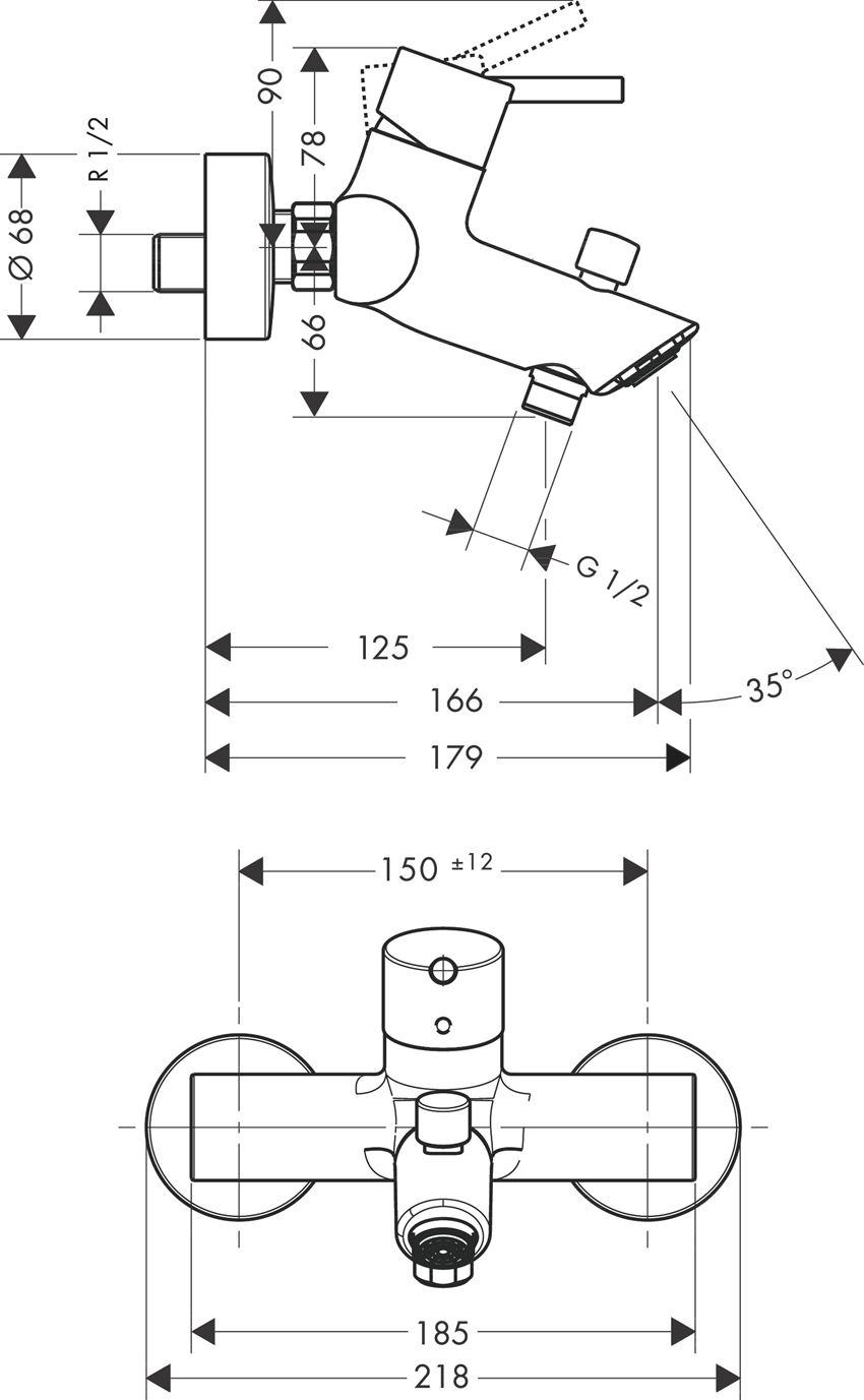 Jednouchwytowa bateria wannowa Hansgrohe Talis rysunek techniczny