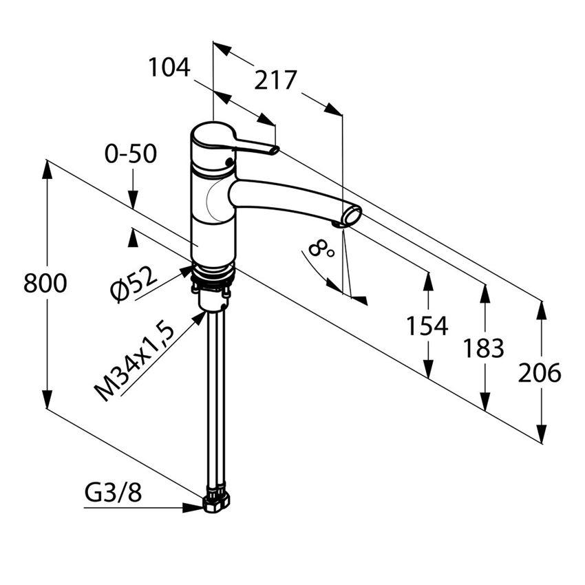 Jednouchwytowa bateria kuchenna Bajonett DN 15 Kludi Trendo rysunek techniczny