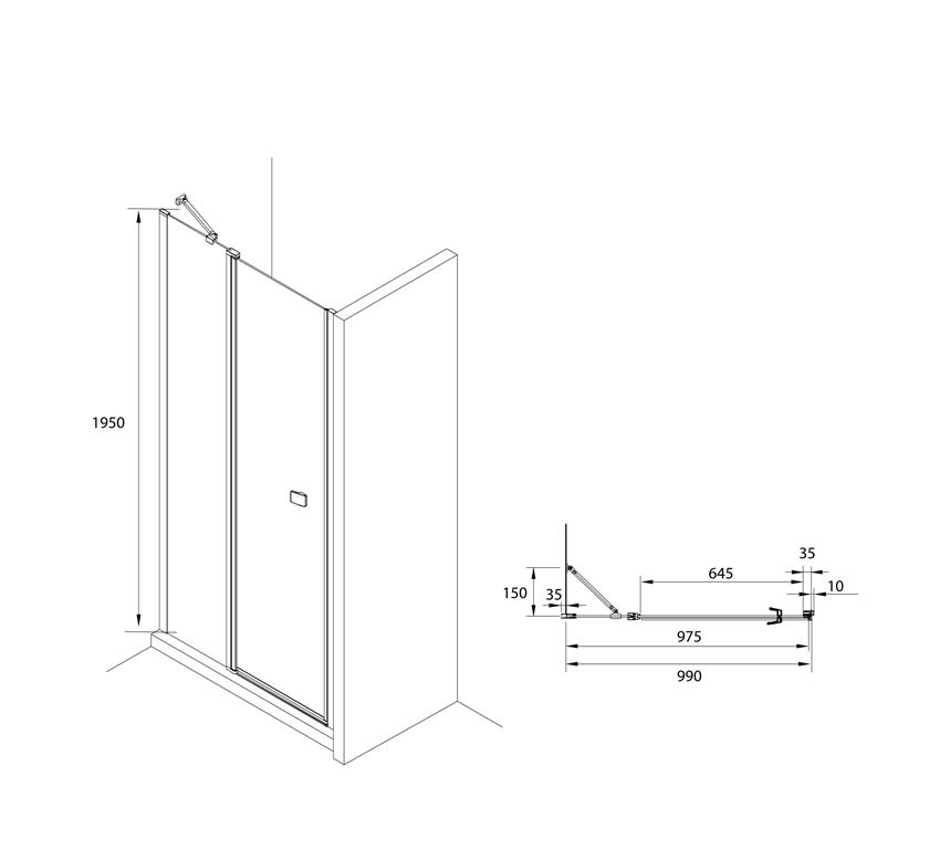 Drzwi z polem stałym z powłoką MaxiClean profile czarny mat 100x195 cm Roca Capital rysunek