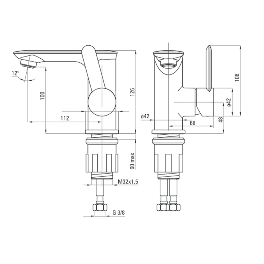 Bateria umywalkowa stojąca z boczną dźwignią z korkiem click-clack Deante Kalia rysunek techniczny