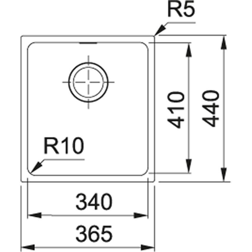 Zlewozmywak 1-komorowy Franke Sirius SID 110-34 rysunek techniczny