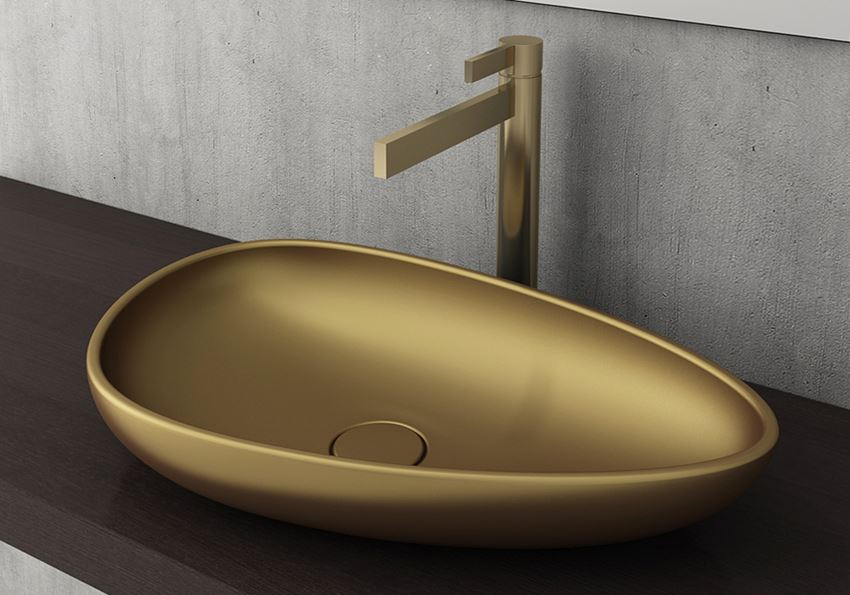 Umywalka nablatowa Matte Gold Bocchi Etna
