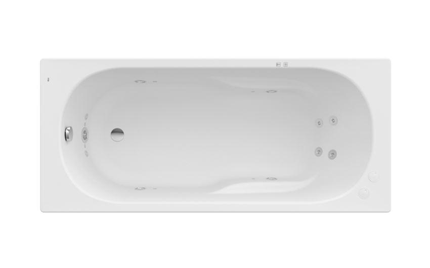 Prostokątna wanna akrylowa z hydromasażem Smart Water Plus 140x70 cm Roca Genova N
