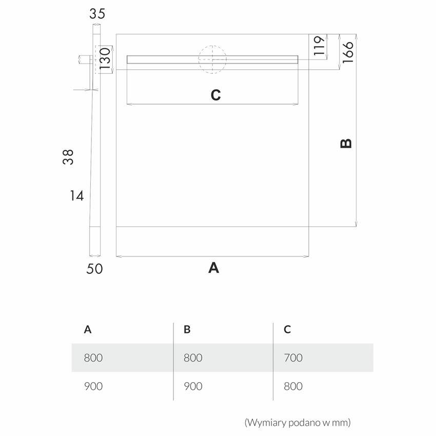 Brodzik kwadratowy Schedpol Slim Lux rysuenk techniczny