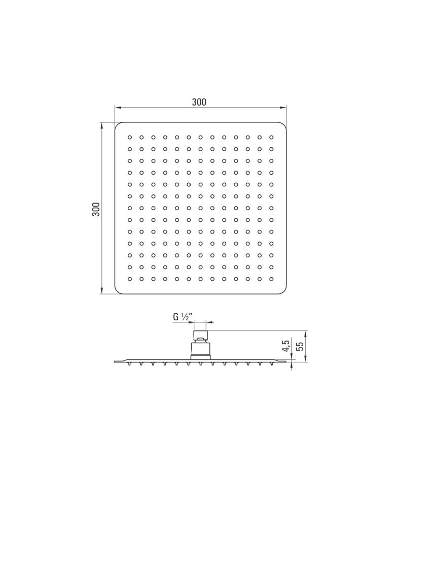 Głowica natryskowa kwadratowa Deante Floks rysunek techniczny