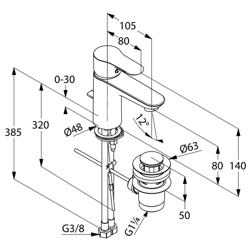 Jednouchwytowa bateria umywalkowa Kludi Objekta rysunek techniczny