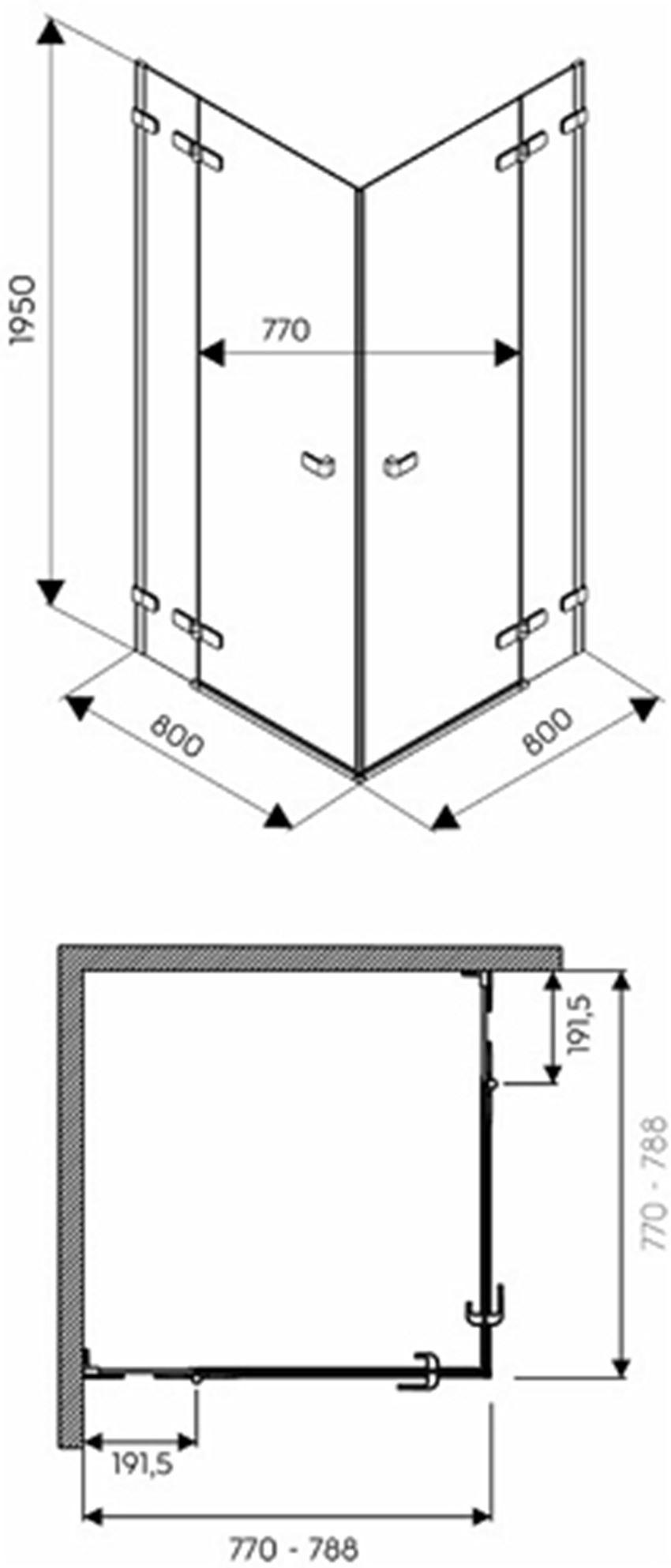 Kabina kwadratowa 80 drzwi skrzydlowe Koło Next rysunek techniczny