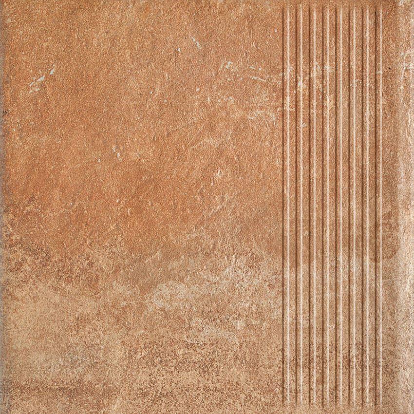 Płytka stopnicowa 30x30 cm Paradyż Scandiano Rosso Stopnica Prosta