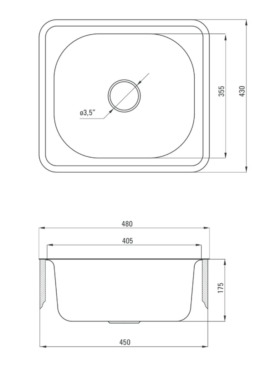 Zlewozmywak stalowy 1-komorowy + bateria stojąca Deante Doppio rysunek