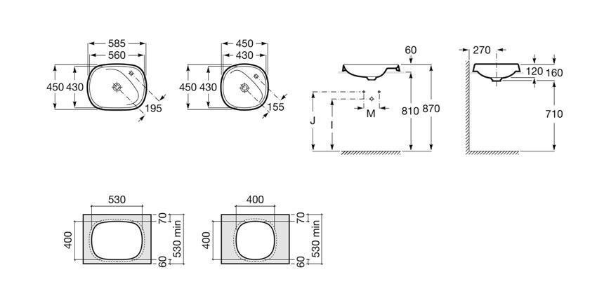 Umywalka blatowa  58,5x45x16 cm Roca Beyond rysunek techniczny