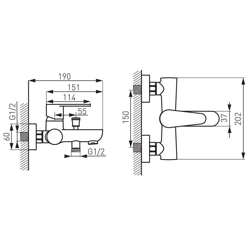 Bateria wannowa ścienna Ferro Algeo rysunek techniczny
