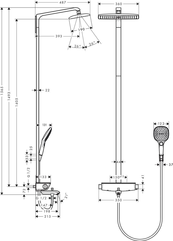 Komplet prysznicowy z termostatem do wanny Hansgrohe Raindance E rysunek