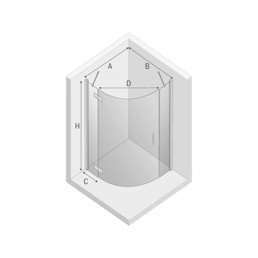 Kabina prysznicowa lewa New Trendy New Merana rysunek techniczny