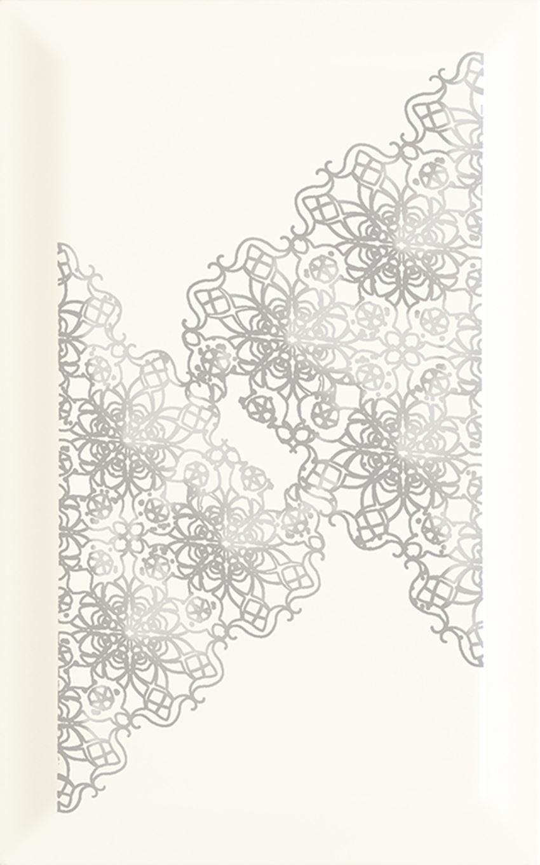 Dekoracja ścienna 25x40 cm Paradyż Veo Bianco Inserto Kafel Koronka