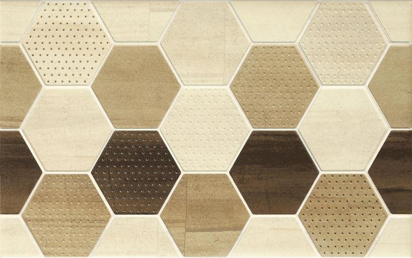 Płytka dekoracyjna 25x40 cm Cersanit Mosa cream inserto geo cubes