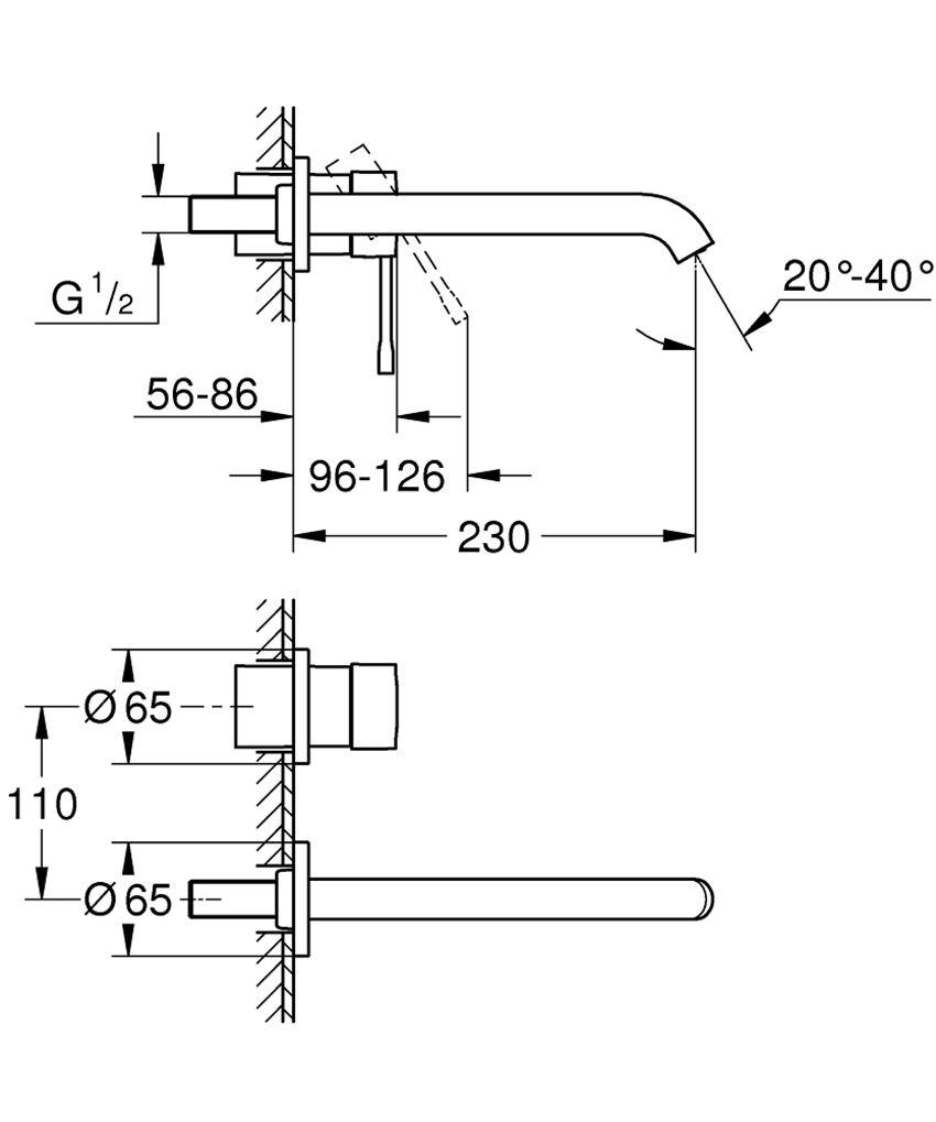 2-otworowa bateria umywalkowa bez elementów do zabudowy podtynkowej Grohe Essence rysunek techniczny