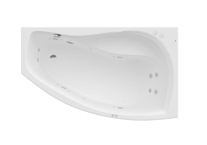 Asymetryczna narożna wanna akrylowa z hydromasażem Smart Water Plus 150x90x45 cm Roca Nicole