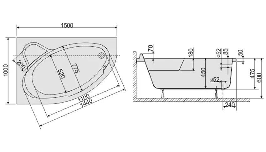 Wanna asymetryczna lewa 100x150 cm Sanplast Comfort rysunek