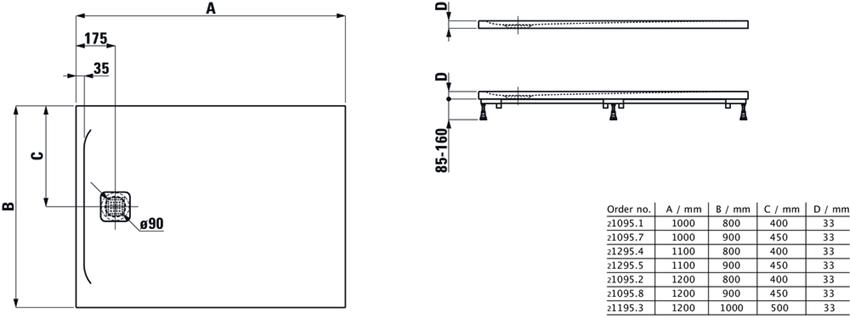 Ultrapłaski brodzik prostokątny Laufen Pro rysunek