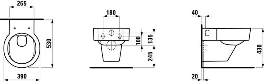 Miska WC podwieszana Laufen Val rysunek techniczny