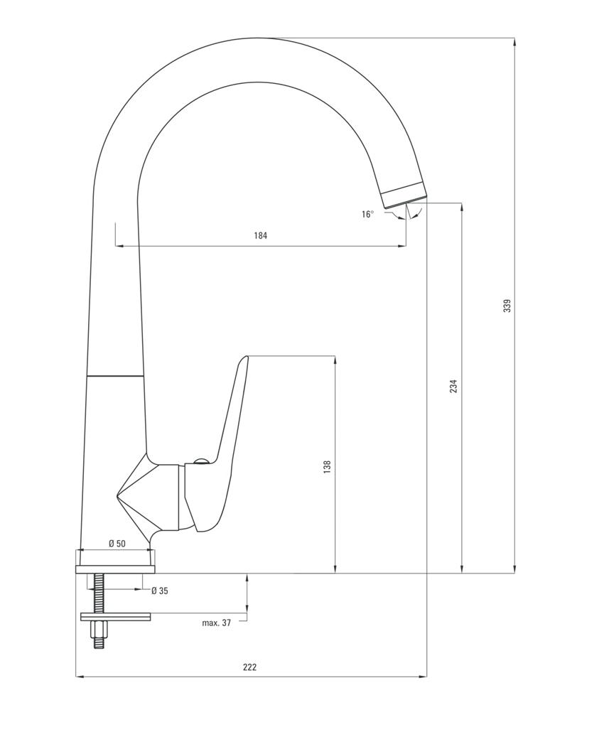 Bateria kuchenna stojąca z wylewką U z aeratorem start-stop Deante Coriander rysunek techniczny