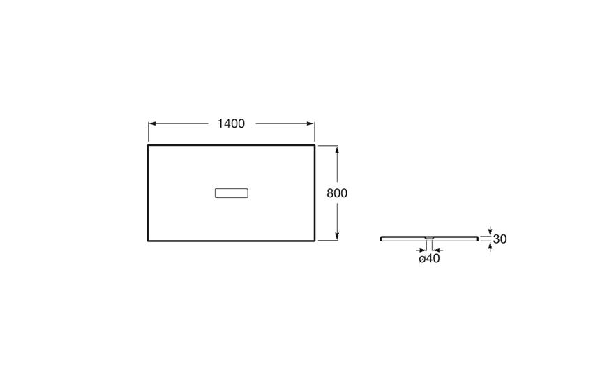 Brodzik prostokątny 140x80x3 cm Roca Helios