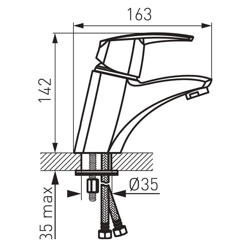 Bateria umywalkowa stojąca Ferro Metalia 56 rysunek techniczny