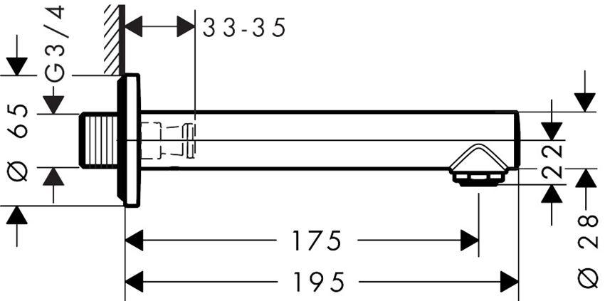 Wylewka wannowa Hansgrohe Talis S rysunek techniczny