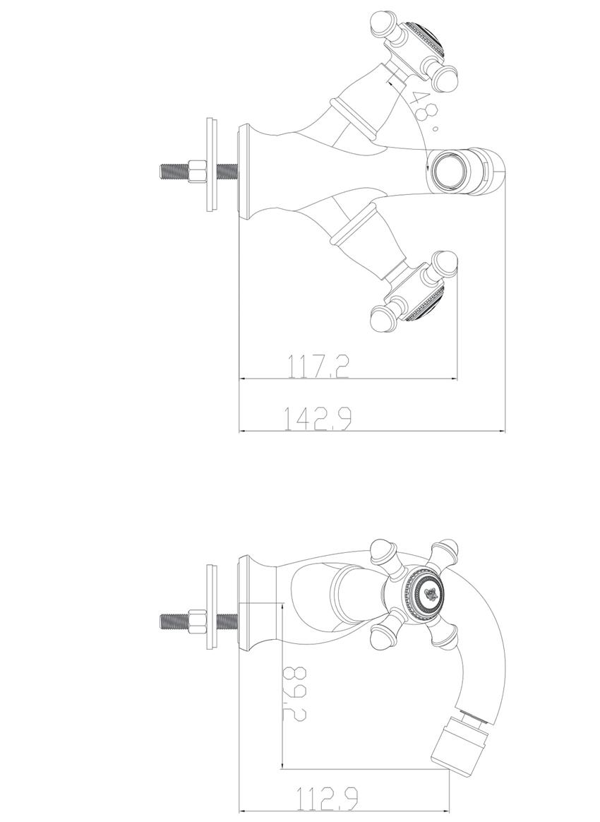 Bateria bidetowa Omnires Retro rysunek techniczny