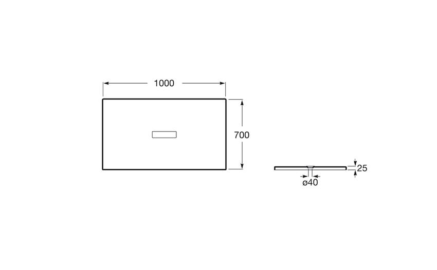 Rysunek techniczny brodzika prostokątnego 100x70x2,5 cm Roca Helios