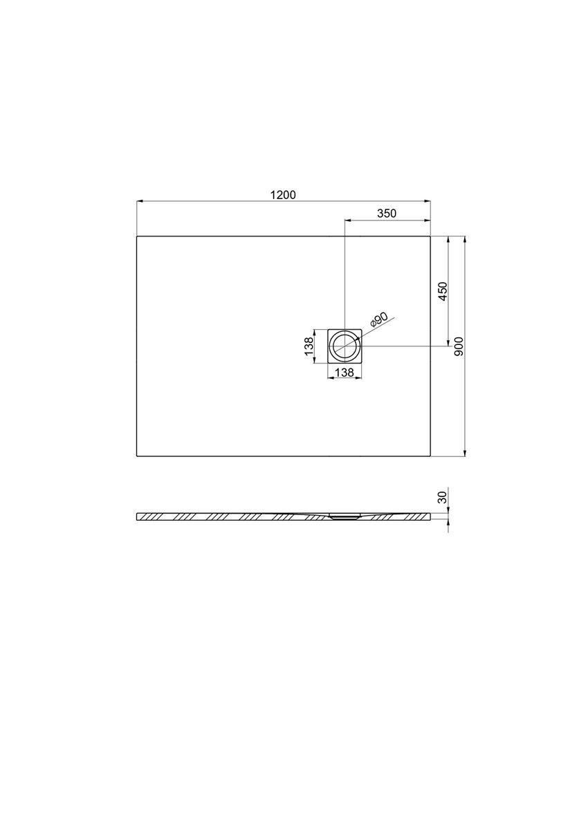 Brodzik kompozytowy 120x90x3 cm Roca Ignis rysunek techniczny