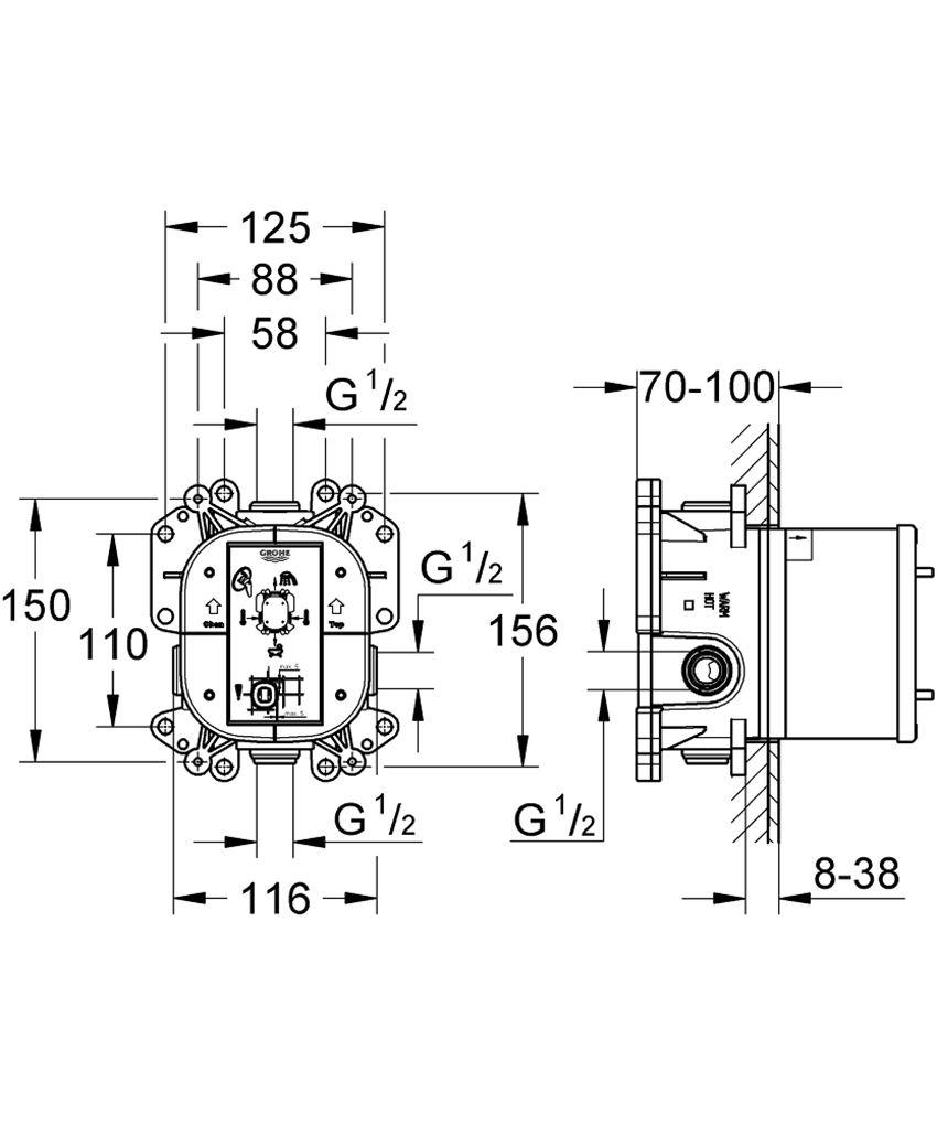 Uniwersalny podtynkowy element jednouchwytowy Grohe Rapido E rysunek techniczny