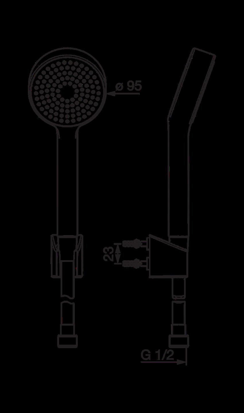 Zestaw natryskowy Oras Apollo rysunek techniczny