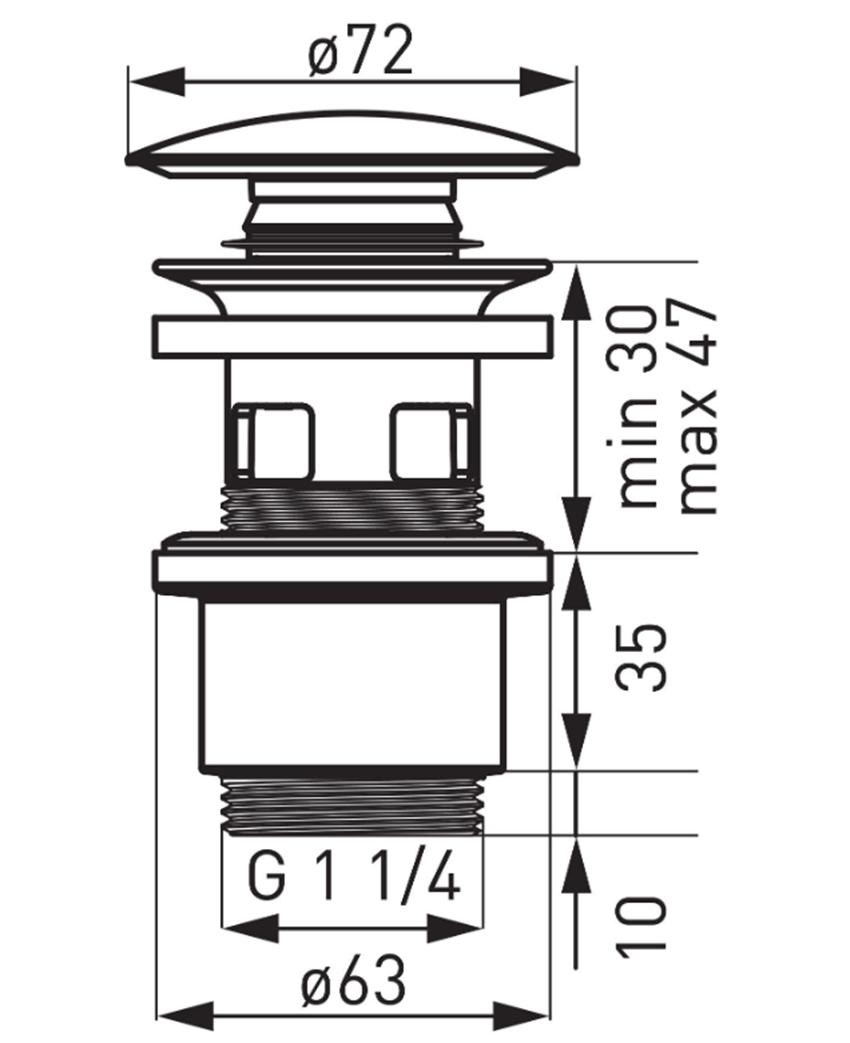 Korek Click-clack polipropylen czarny ceramiczny FDesign Kleome rysunek