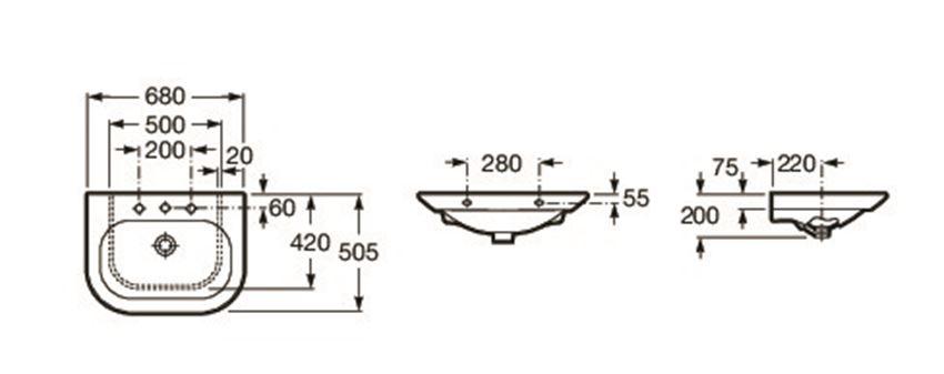 Umywalka meblowa 68x50 cm Roca Nexo rysunek techniczny
