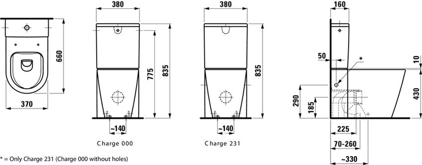 Miska WC stojąca rimless do kompaktu lejowa bezkołnierzowa Laufen Kartell rysunek techniczny