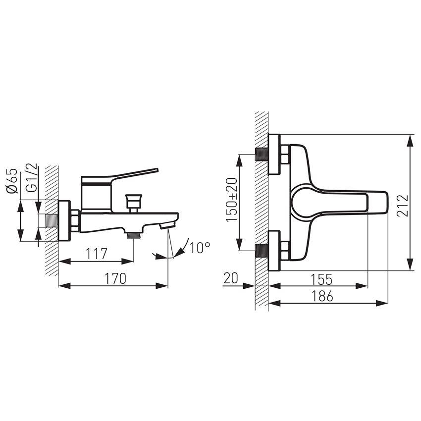 Bateria wannowa ścienna Ferro Stratos rysunek techniczny