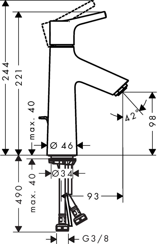 Jednouchwytowa bateria umywalkowa 100 CoolStart Hansgrohe Talis S rysunek techniczny