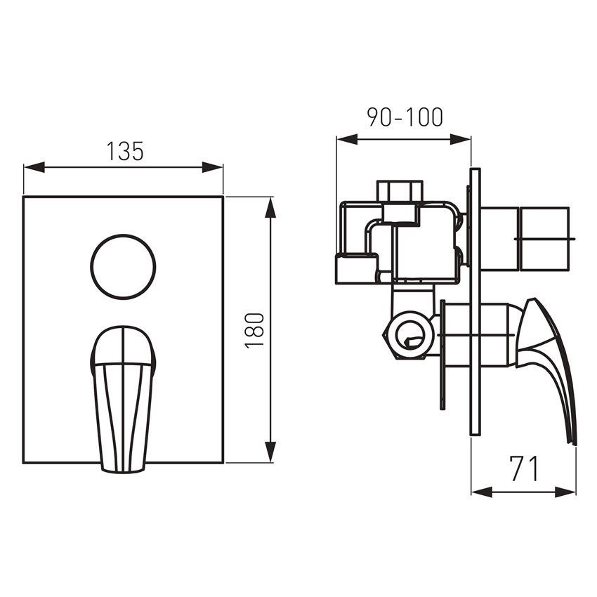Bateria wannowo-natryskowa podtynkowa Kludi Metalia 57 rysunek techniczny