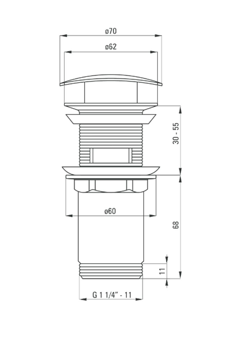 Korek uniwersalny kwadratowy z przelewem i tuleją Deante Click-Clack