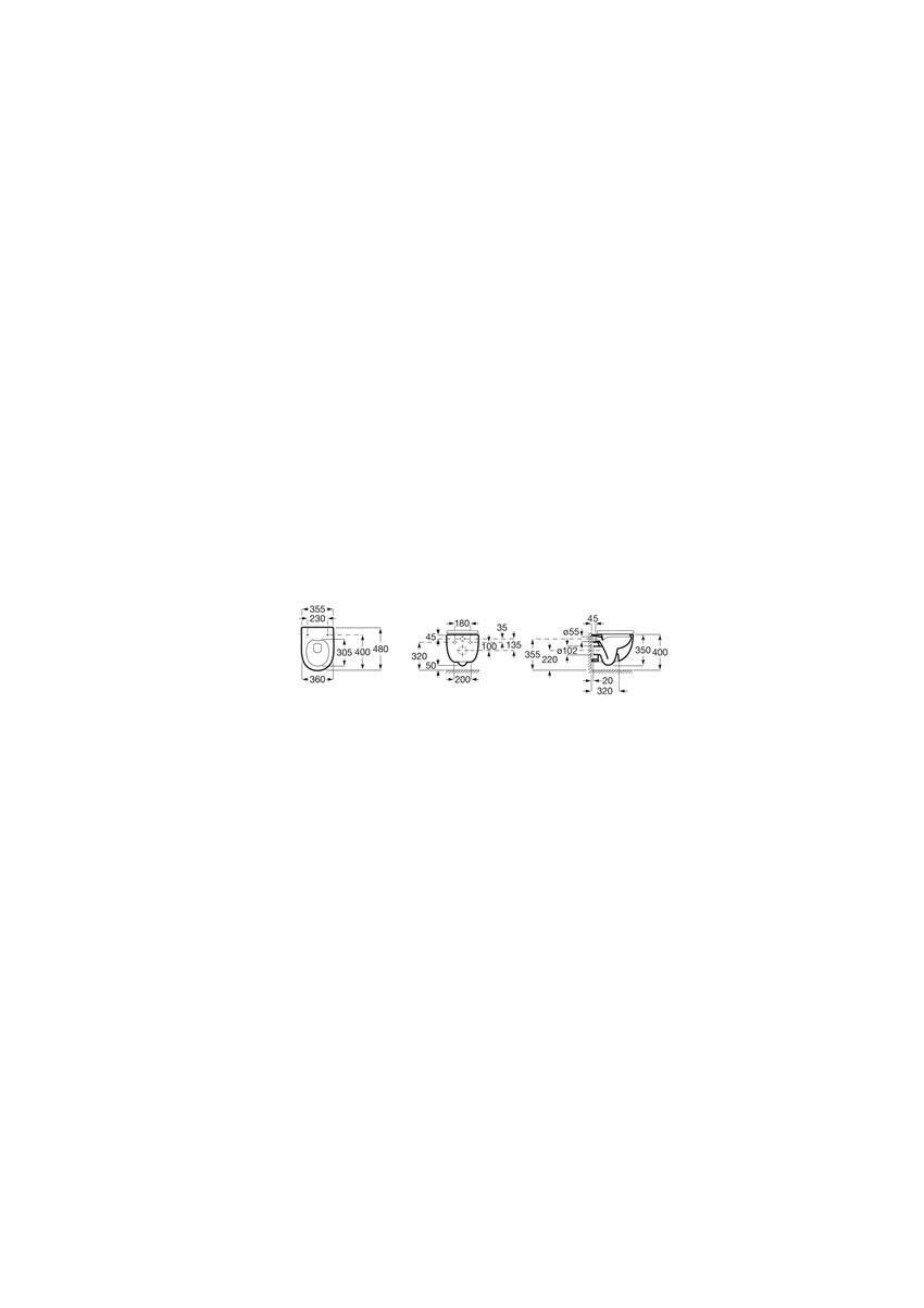 Miska WC podwieszana Compacto Rimless z deską wolnoopadającą SLIM Roca Meridian rysunek