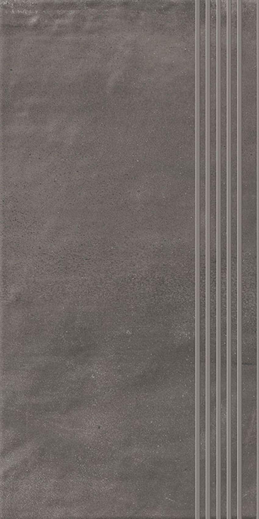 Płytka stopnicowa 29,8x59,8 cm Paradyż Hybrid Stone Grafit Stopnica Prosta Nacinana