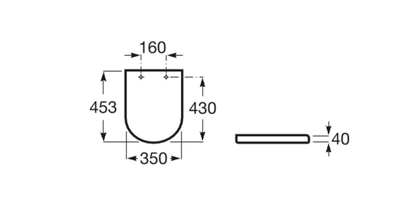 Deska WC Slim Compacto wolnoopadająca Round Roca Gap rysunek