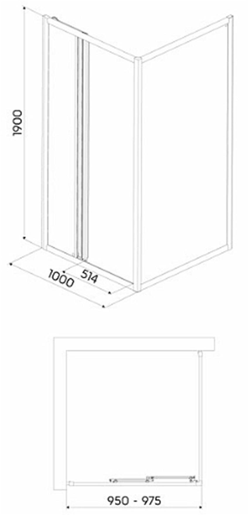 Drzwi 3-elementowe szkło przezroczyste Koło First 100 rysunek techniczny