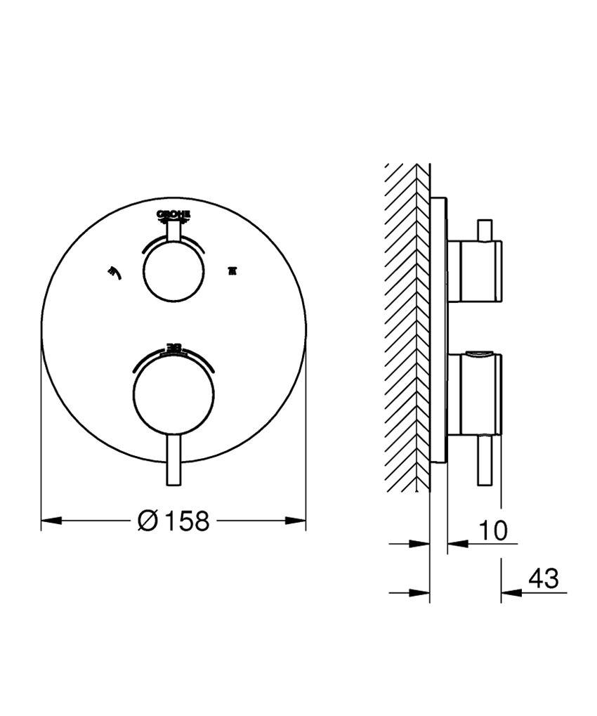 Termostatyczna bateria prysznicowa do obsługi dwóch wyjść wody stal nierdzewna Grohe Atrio rysunek techniczny