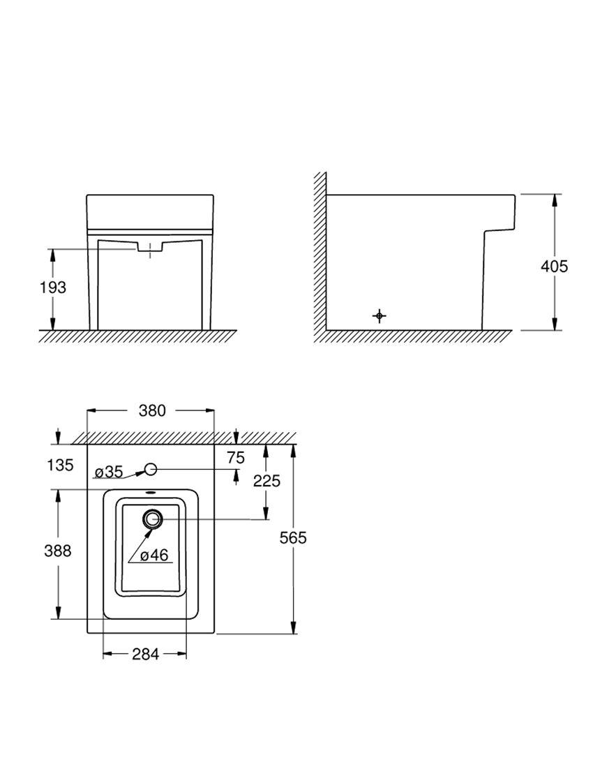 Bidet stojący Grohe Cube Ceramic rysunek techniczny