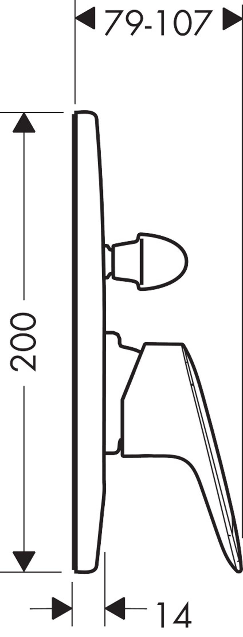 Jednouchwytowa bateria wannowa montaż podtynkowy Hansgrohe Logis rysunek techniczny