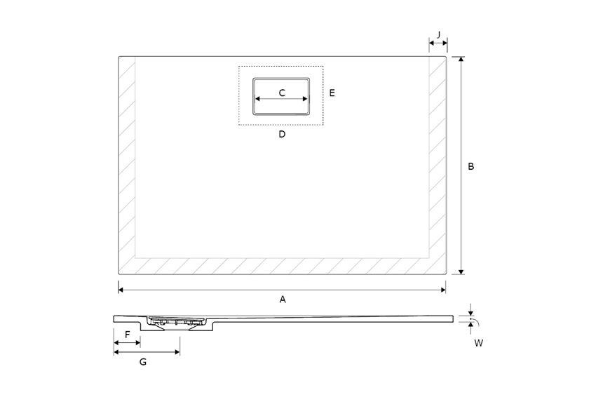 Brodzik prostokątny 120x80 cm Excellent Lavano rysunek